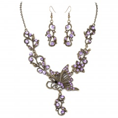 Fashion Bronze Plated Butterfly Bridal Suit Necklace Earring Jewelry Set Wholesale Purple