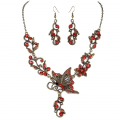 Fashion Bronze Plated Butterfly Bridal Suit Necklace Earring Jewelry Set Wholesale Red
