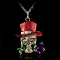 Fashion Crystal Skull Rose Pendant Necklace Women Jewelry Red