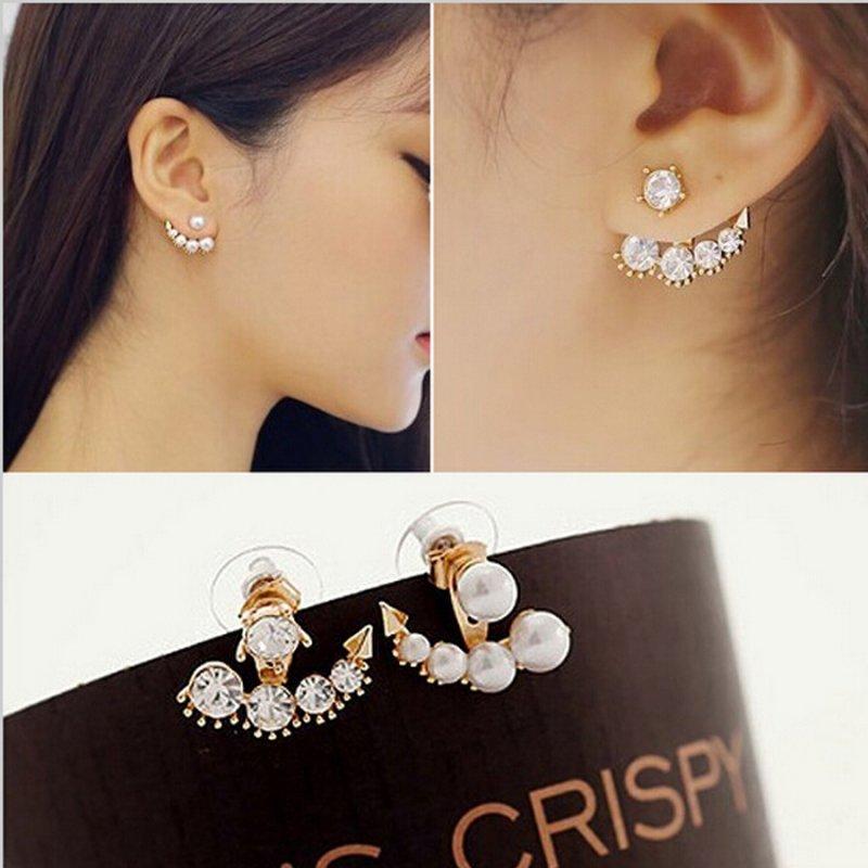 2018 New Chic Fashion Women Gold Pearl Rhinestone Crystal Ear Stud Cuff Earrings Ebay
