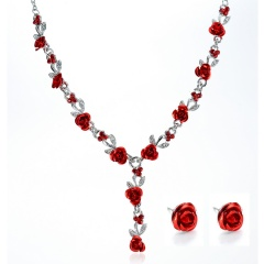 Fashion Metal Flower Shape Necklace Earring Jewelry Set Red