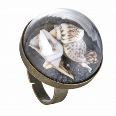 Shell decoration ring adjustable size Adjustable