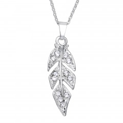 Fashion Leaf Shape Alloy With Rhinestone Boutique Charm Necklace Jewelry Leaf
