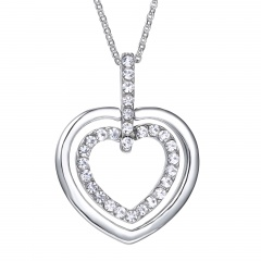 Silver Alloy Allowe Heart with Rhinestone Pendant Necklace Jewelry Heart
