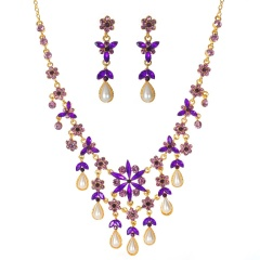 Fashion Gold Crystal Pearl Necklace Earring Jewelry Set purple