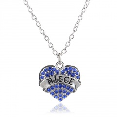 Fashion Women Crystal Pendant Necklace Chain Mom Mother's Day Party Charm Gift Niece Blue
