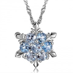 Silver CZ Stone Snow Pandent Necklace Elegant Necklace for Women Snow