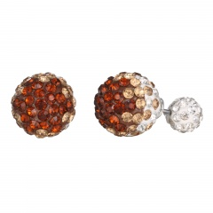 Fashion Ball With Stone Earring Fine Stud Earrings Clay Rhinestone Earring Jewelry Brown