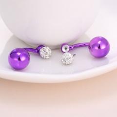 Fashion Jewelry Round Bead Crysty Stud Earrings Purple