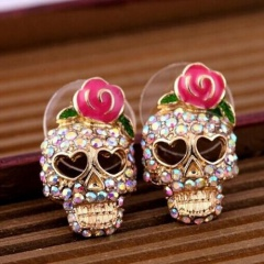 Retro Skull Rhinestone Stud Earrings With Diamonds Jewelry Skull