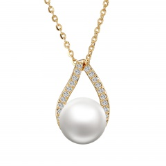 gold chain with pearl chain necklace jewlery wholesale pearl