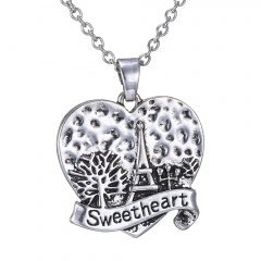 Sweetheart Fashion Silver Alloy with Rhinestone Pendant Necklace Jewelry Sweetheart