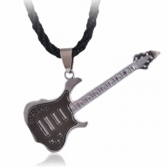 Fashion Stainless Steel Guitar Cross Pendant Necklace Jewelry Guitar