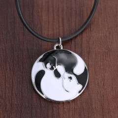 Fashion Couple Cute Black White Cat Pendant Necklace Round Heart Crystal Jewelry Round