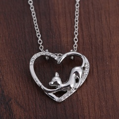 Fashion Silver Hollow Heart Cute Cat Pendant Necklace Chain Jewelry Heart 1