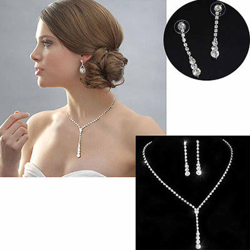 Vogue Prom Wedding Bridal Party Jewelry Set Crystal Rhinestone Necklace Earrings