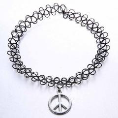 Alloy Simple Dangle Coker Necklace Black Elastic Charm Necklace Peace