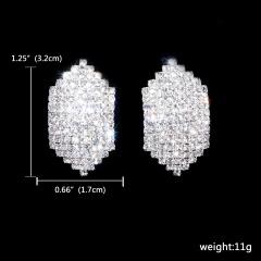 12 Pairs Stud Silver Rhinestone Simple Earring Wholesale 121-6302