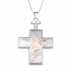 Fashion Dried Flower Cross Pendant Necklace Glass Chain Jewelry Starfish