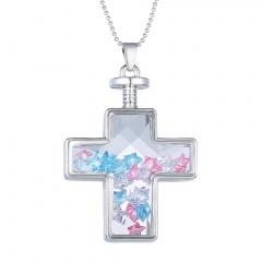 Fashion Dried Flower Cross Pendant Necklace Glass Chain Jewelry Star