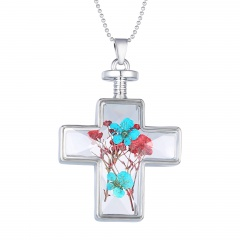 Fashion Dried Flower Cross Pendant Necklace Glass Chain Jewelry Dried Flower Blue