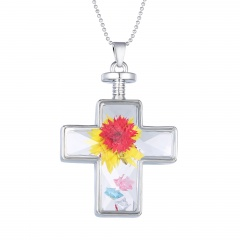 Fashion Dried Flower Cross Pendant Necklace Glass Chain Jewelry Dried Flower Red