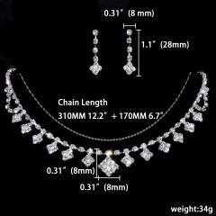 1DZ (12 Set) Rhinestone Wedding Jewelry Set Necklace and Earring Wholesale 1402-6025