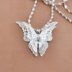 Fashion Women Silver Butterfly Statement Bib Pendant Necklace Jewelry Chain Gift Butterfly