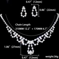 1DZ (12 Set) Rhinestone Necklace Earring Jewelry Set 1402-6002