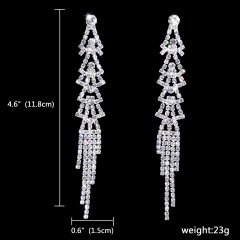12Paris Long Rhinestone Silver Dnagle Wedding Earring 181-6113