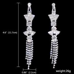 1DZ (12 Pairs) Silver Wings Dangle Fashion Rhinestone Earrings Jewelry Wholesale 181-6124