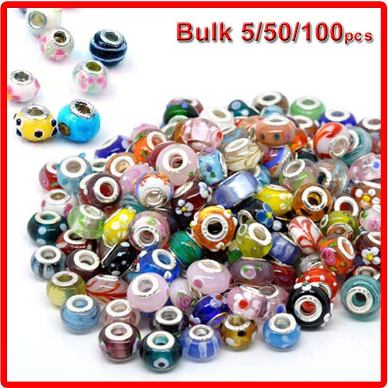 50pcs //Lot Mixed Murano Big Hole Lampwork Glass Beads Fit Charm Bracelet BH01