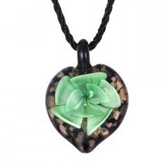 Fashion Lampwork Glass Heart Drop Inside Pendant Necklace Women Jewelry Gifts Green