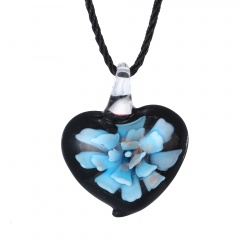Chic  Women Glass Heart Waterdrop Pendant Necklace Murano Lampwork Jewelry Party Gift Heart Blue