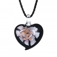 Chic  Women Glass Heart Waterdrop Pendant Necklace Murano Lampwork Jewelry Party Gift Heart Pink