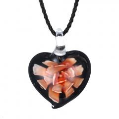 Chic  Women Glass Heart Waterdrop Pendant Necklace Murano Lampwork Jewelry Party Gift Heart Orange
