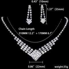 1DZ (12 Set) Rhinestone Necklace Earring Jewelry Set 1402-6189