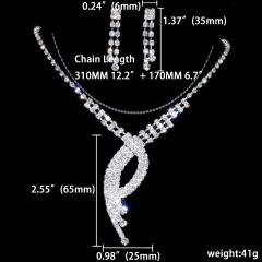 1DZ (12 Set) Wedding Rhinestone Silver Necklace Earring Jewelry Set 1402-6230