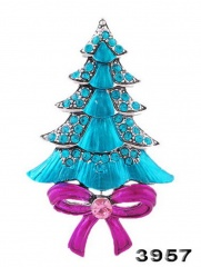 Rinhoo Blue Christmas Tree Alloy Rhinestones Brooch Pins Collar Clip Accessories Jewelry Brooches New Year Gifts for Women Christmas tree