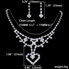 1DZ (12 Set) Silver Rhinestone Jewelry Set Wholesale 1402-6289