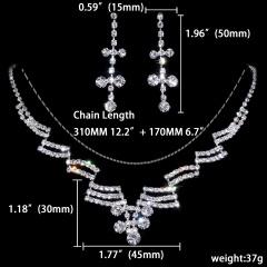 1DZ (12 Set) Silver Rhinestone Jewelry Set Wholesale 1402-6300