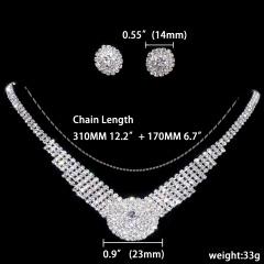 1DZ (12 Set) Rhinestone Necklace Earring Jewelry Set 1402-6342
