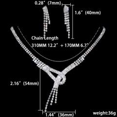 1DZ (12 Set) Rhinestone Necklace Earring Jewelry Set 1402-6380