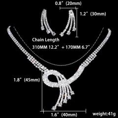 1DZ (12 Set) Rhinestone Necklace Earring Jewelry Set 1402-6383