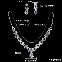 1DZ (12 Set) Rhinestone Wedding Jewelry Set Necklace and Earring Wholesale 1402-6398