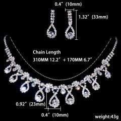1DZ (12 Set) Silver Flower Shape Rhinestone Gemstone Necklace Earring Jewelry Set 1402-6403