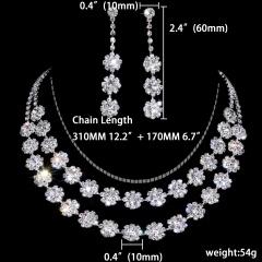 1DZ (12 Set) Silver Flower Shape Rhinestone Gemstone Necklace Earring Jewelry Set 1402-6404