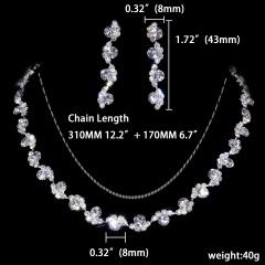1DZ (12 Set) Silver Flower Shape Rhinestone Gemstone Necklace Earring Jewelry Set 1402-6409