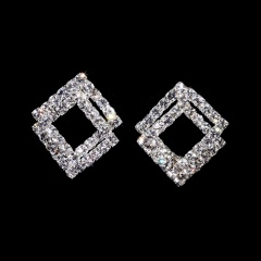 Fashion Wedding Rhinestone Earrings Simple Bride Silver Earrings Temperament Jewelry Gift Double Square