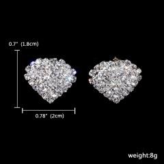 1DZ (12Pairs) Silver Rhinestone Stud Earring Wedding Jewelry 121-6040